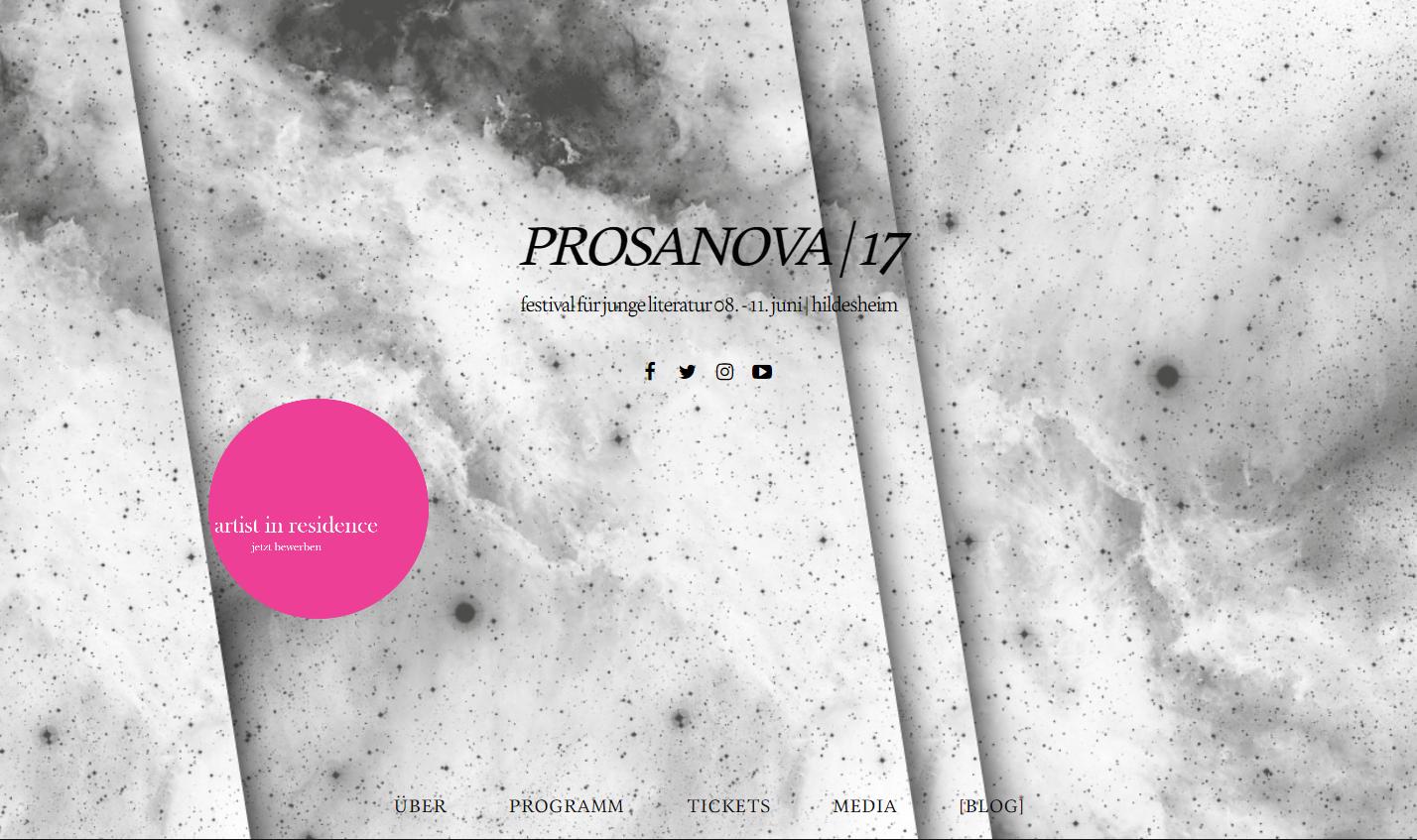 prosanova | 17 - festival für junge literatur 08. - 11. juni | hildesheim